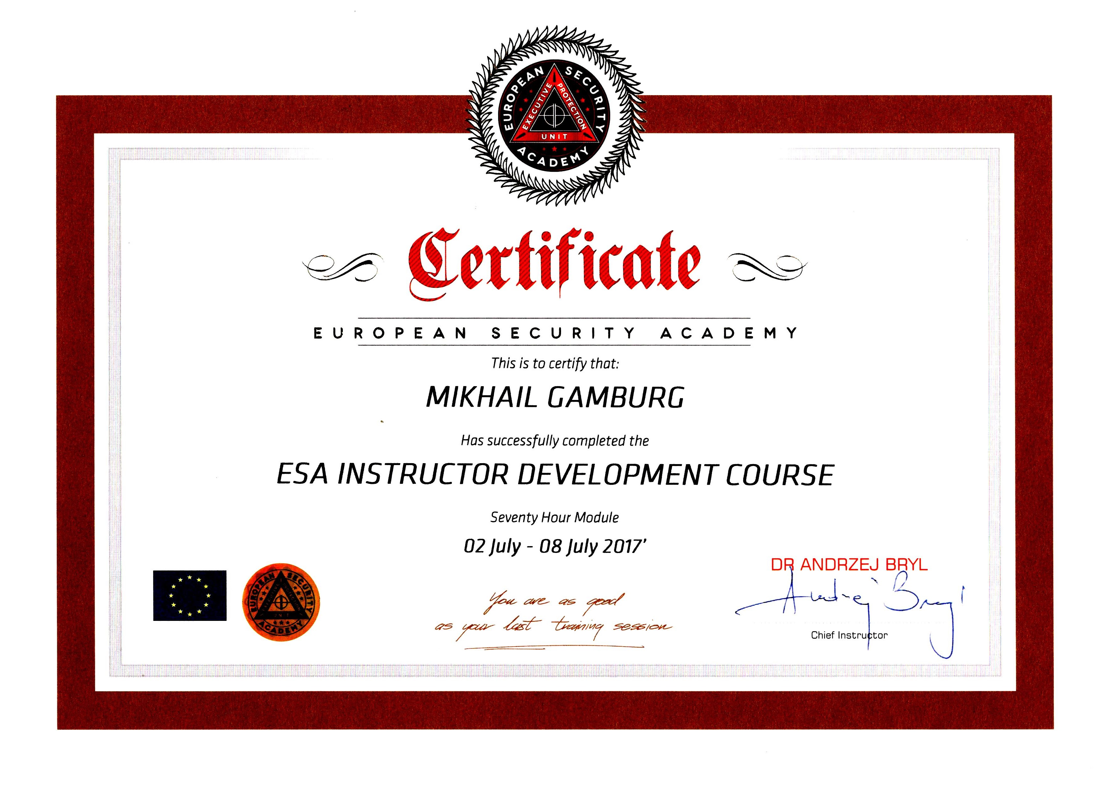 Certificate European Security Academy Mikhail Gamburg 02 July - 08 July 2017