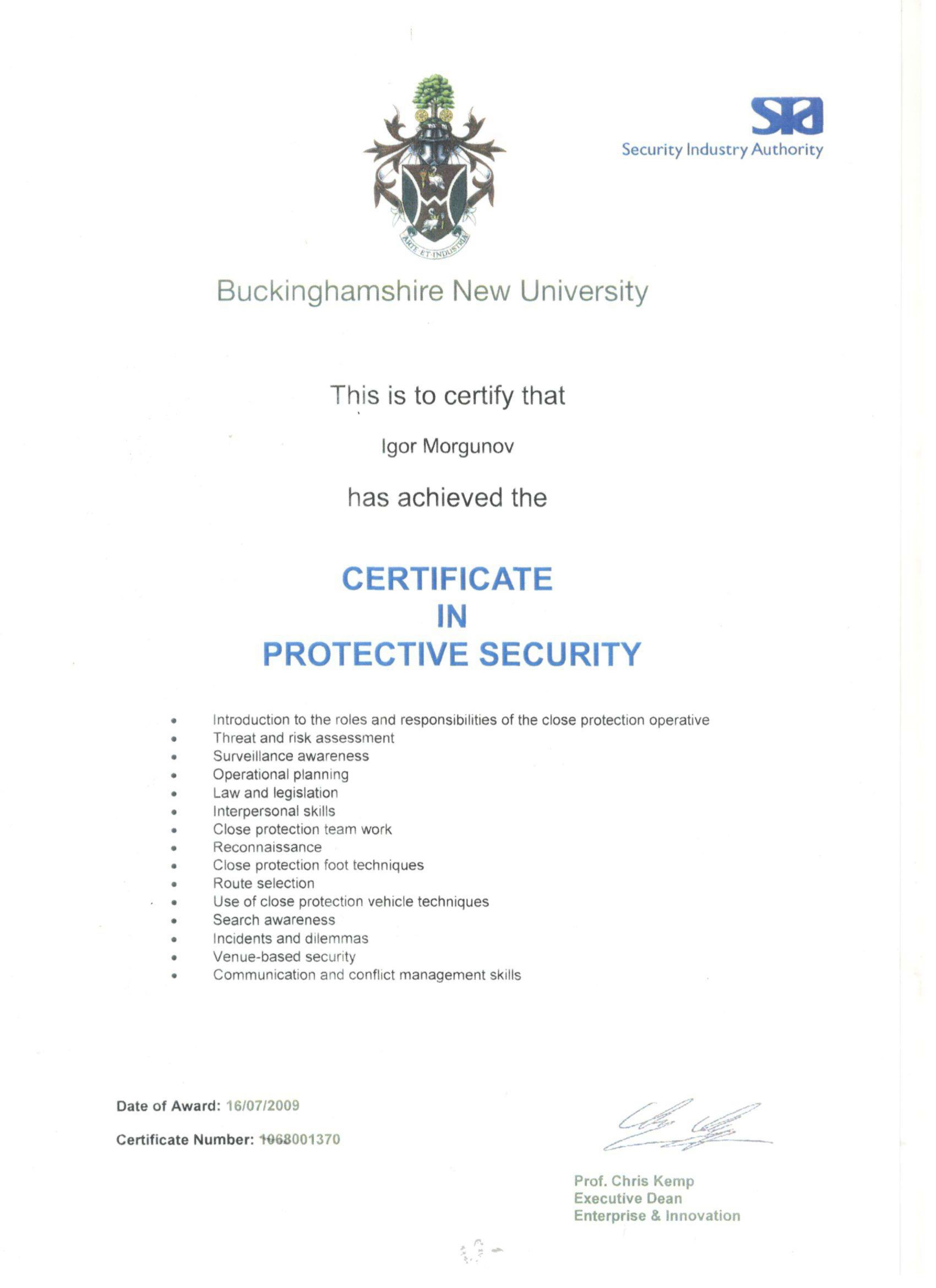 Certificate in Protection Security Igor Morgunov 16/07/2009