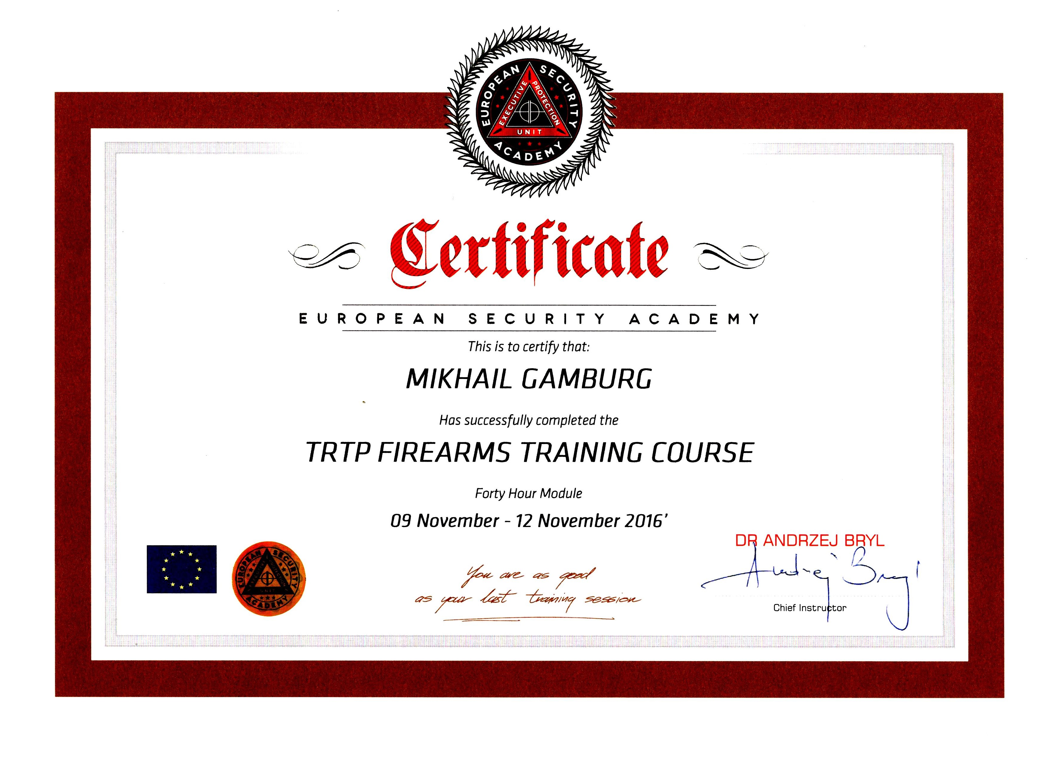 Certificate European Security Academy Mikhail Gamburg 09 November - 012 November 2016