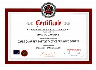 Certificate European Security Academy Mikhail Gamburg 01 November - 07 November 2016