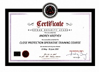 Certificate European Security Academy Andrey Arefyev 23 May - 5 June 2016
